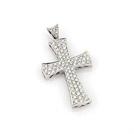 Large 2.00ct Pave Diamond 18k White Gold Cross Pendant