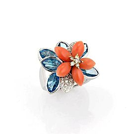 Stunning 18K White Gold Diamond Coral & Blue Topaz Movable Flower Ring