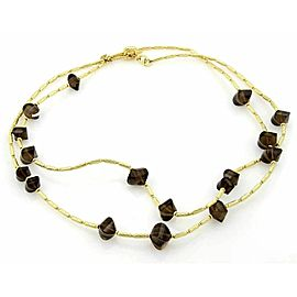 David Yurman Smokey Quartz 18k Yellow Gold Cable Toggle Necklace