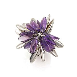 Amethyst 18k White Gold Long Dangling Petals Dome Band Ring