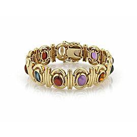 Estate Multicolor Gemstone 14k Yellow Gold Fancy Link Bracelet