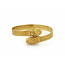 Lalaounis Double Lion Head 9mm Wide 18k Gold Flex Cuff Bracelet
