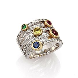 Sonia B Diamond Multicolor Gems 14k Gold 5 Rows Band Ring