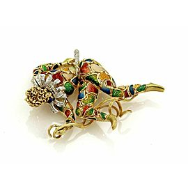 Estate Diamond Multicolor Enamel Large Court Jester Pendant in 18k Yellow Gold