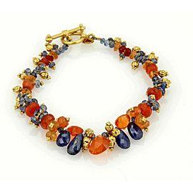 Laura Gibson Blue & Orange Beaded Cluster Gemstone Toggle Bracelet in 22k Gold