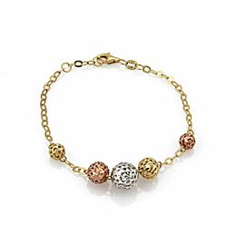 Graduated Ball Charms 18k Tri-Color Gold Chain Bracelet