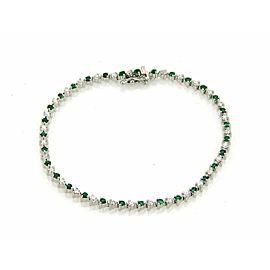 1.75ct Emerald & Diamond Martini 3 Prongs Setting 18k Gold Tennis Bracelet