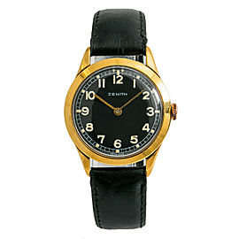 Zenith Mens Vintage Manual Hand Winding Watch Black Dial Gold Plated 35mm