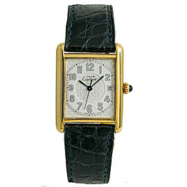 Cartier Tank Must De 2413 Unisex Quartz Watch 925 Gold Plated Silver Dial 25mm