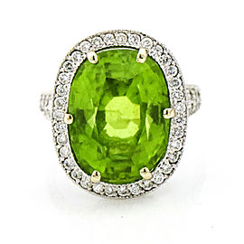 13.00 Carat 18k White Gold Peridot Diamond Dinner Ring