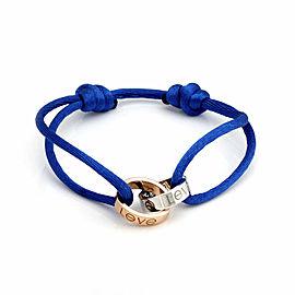Cartier Love 18k White & Rose Gold 2 Mini Ring Charm Blue Cord Bracelet