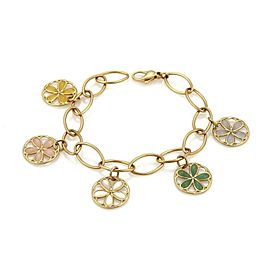 Tiffany & Co. Garden 18k Rose Gold Multicolor Gems 4 Floral Charm Bracelet