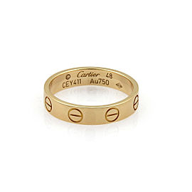 Cartier Mini Love 18k Rose Gold 3.5mm Band Ring Size 4.5