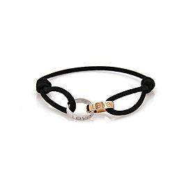 Cartier Love 18k White & Rose Gold 2 Mini Ring Charm Black Cord Bracelet