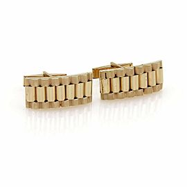 Estate 14k Yellow Gold Fancy Long Link Style Cufflinks