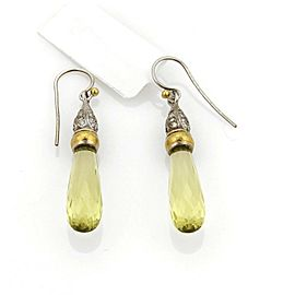 Gurhan SPRING Lemon Citrine & Diamonds 24k Gold Sterling Dangle Earrings