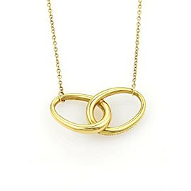 Tiffany & Co. Peretti 18k Yellow Gold Double Oval Ring Pendant Necklace