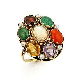 Estate 14k Yellow Gold Multi-Color Gemstone Oval Top Ring
