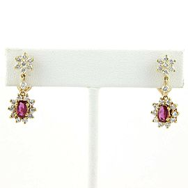 Estate 14k Yellow Gold 1.95ct Diamond & Ruby Drop Dangle Floral Earrings