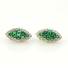 Estate 14K Yellow Gold Pave Emerald & Diamond Cluster Earrings