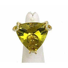 Massive 18k Yellow Gold 2.00ct Lime Quartz & Diamond Ring