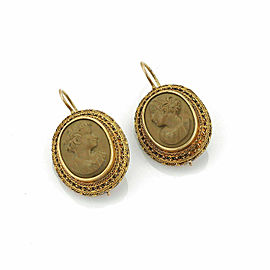 Estate Lava Oval Cameo 18k Yellow Gold Hook Dangle Earrings