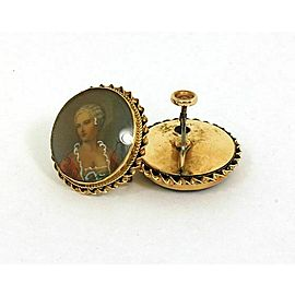 Estate 14k Gold & Hand-Painted Cameo Ladies Earrings