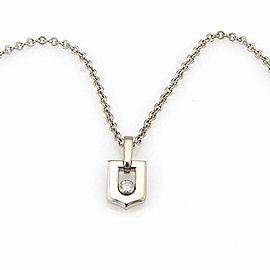 Cartier Diamond 18k White Gold Logo Pendant Necklace