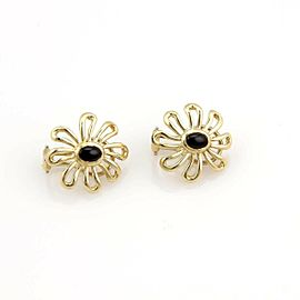 Tiffany & Co. Vintage Onyx 18k Yellow Gold Daisy Flower Earrings