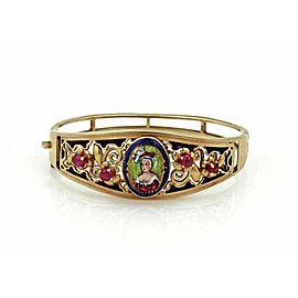 Vintage Ruby Enamel 14k Gold Painted Porcelain Woman Portrait Band Bracelet