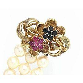 Estate Sapphire & Ruby Triple Strand Pearl 14k Yellow Gold Bracelet