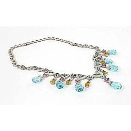 Estate 1.75ct Diamond & Gemstone Hearts Drop 18k White Gold Necklace