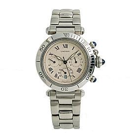 Cartier Pasha 1050 W31018H3 Mens Quartz Watch Chronograph Stainless 38mm