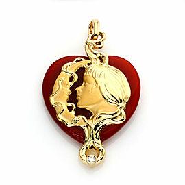 Carrera y Carrera Diamond Carnelian 18k Yellow Gold Moon & Girl Cameo Pendant
