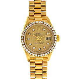 Rolex 69178 18k Yellow Gold Ladies President Diamond Dial and Bezel Watch