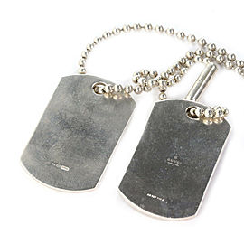 Gucci Black Enamel Double Dog Tag Sterling Silver Pendant & Bead Chain