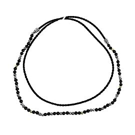 JOHN HARDY ST.SILVER CLASSIC CHAIN GOLD ONYX BEADS LEATHER NECKLACE 32""