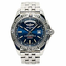 Breitling Galactic 44 A45320 Mens Automatic Watch Blue Dial Stainless Steel 43mm