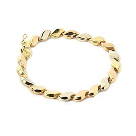 Chiampesan Fancy S Link 18k Tri-Color Gold Bracelet Italy