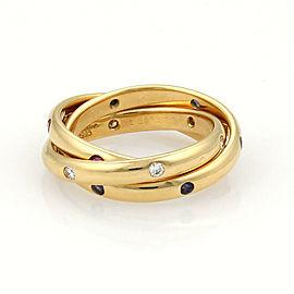 Cartier Trinity 18k Yellow Gold Diamond & Gems 18k Gold 3 Rolling Rings Size 51