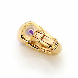 Bvlgari Cabochon Amethyst Gem 18k Yellow Gold Oval Clip On Earrings