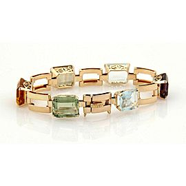Retro Emerald Cut Multi-Color Gemstone 14k Rose Gold Bracelet