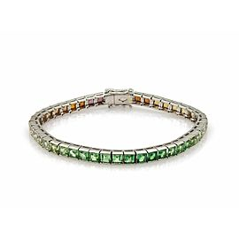 Rainbow 13.31ct Multicolor Gemstone Platinum Square Link Tennis Bracelet