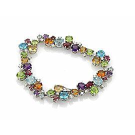 Diamonds & Multicolor Gems 18k White Gold Bracelet