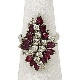 Diamond & Ruby 14k White Gold Cocktail Ring