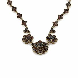 Antique Bohemian Garnet Base Metal Floral Drape Necklace