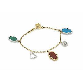 Diamond & Gem stone 18k Gold 5 Good Luck Charms Chain Bracelet