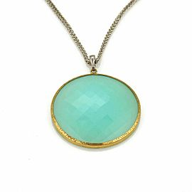 Gurhan Aqua Chalcedony Sterling & 24k Gold Large Pendant Necklace