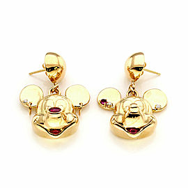 Mickey & Minnie Mouse Diamond Rubies 18k Yellow Gold Drop Dangle Earrings