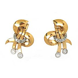 Retro Diamond 18k Two Tone Gold Fancy Earrings & Brooch Set